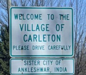 Sign for the village of carleton