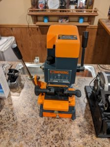 Rekey cutter on table