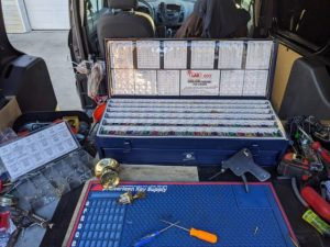 pinning kit in the back of a van