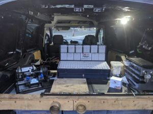 pinning kit in a van