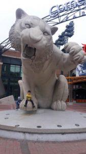 a tiger statue outside of comerica park