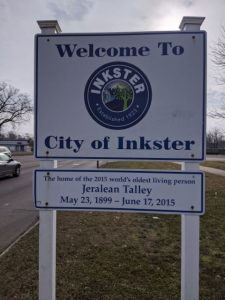 welcome to the city of inkster sign