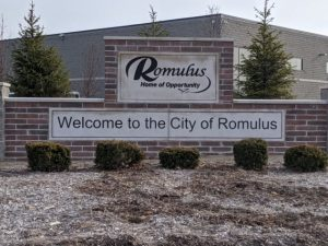welcome to the city of romulus sign