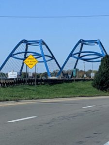two identical blue bridges