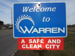 welcome to the city of warren sign