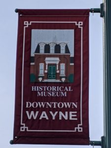 a flag for the historical museum in downtown wayne