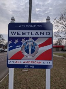 the city of westland welcome sign